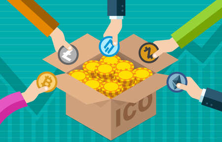 Foto de ICO Initial Coin Offering Bitcoin Digital Electronic Currency Financial Token Exchange  Fundraising Concept - Imagen libre de derechos