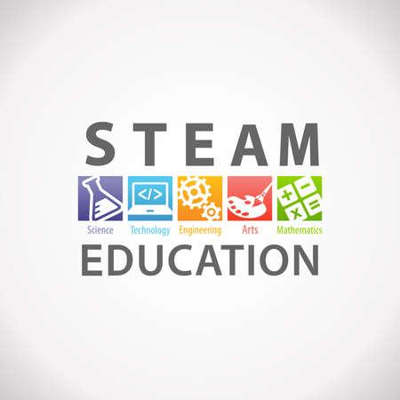 Illustration pour STEAM STEM Education Concept Logo. Science Technology Engineering Arts Mathematics - image libre de droit