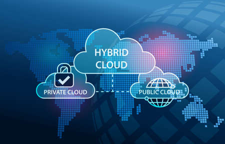 Foto de Hybrid Cloud Network diagram Private and Public infrastructure - Imagen libre de derechos