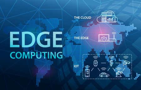 Photo pour Edge Computing Internet Cloud Technology Concept Background - image libre de droit