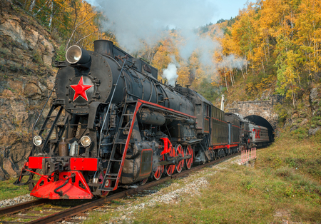 Foto de Old steam locomotive in the Circum-Baikal Railway. Eastern Siberia, Irkutsk region - Imagen libre de derechos
