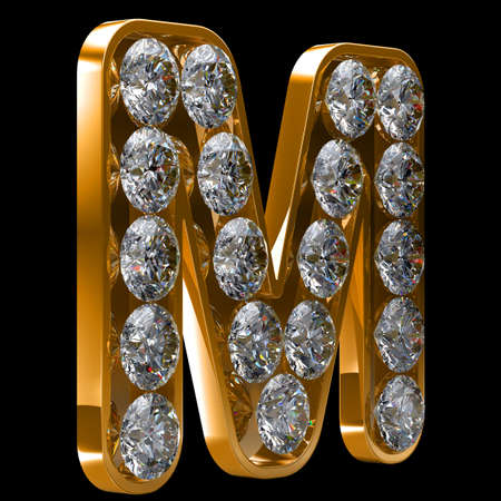Golden M letter incrusted with diamonds.