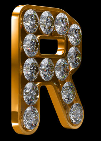 Golden R letter incrusted with diamonds.