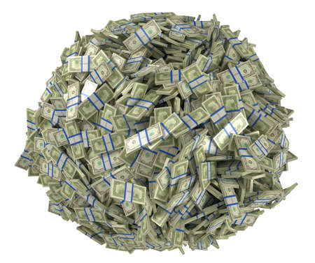 Ball shape assembled of US dollar bundles. Isolated over white