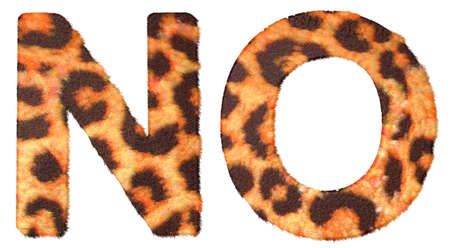 Leopard fur N and O letters isolated over white background