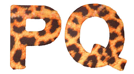Leopard fur P and Q letters isolated over white background