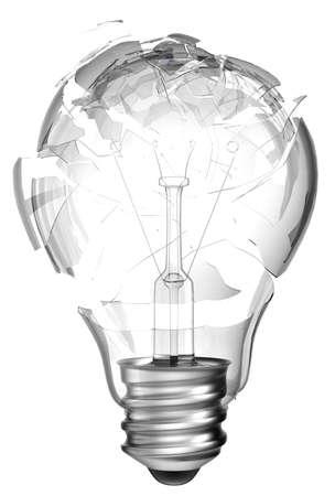 Making mistake. Smashed lightbulb isolated over white background