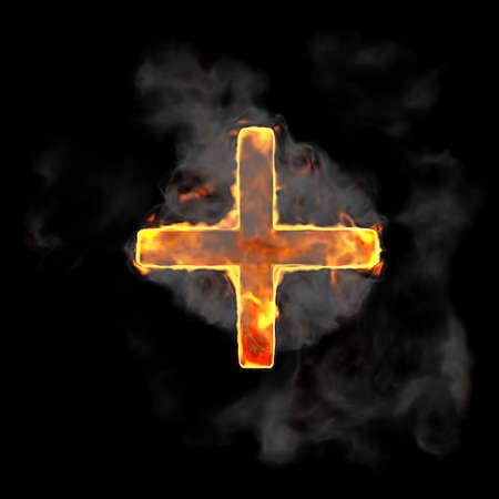 Burning and flame font plus symbol over black background