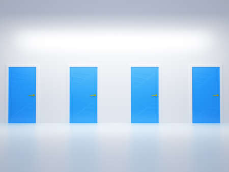 Choosing the way: four conceptual doors in abstract room