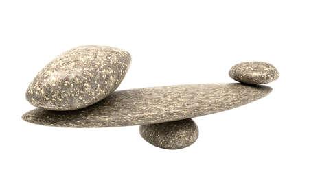 Ponderous thing: balancing cobblestones isolated over white background