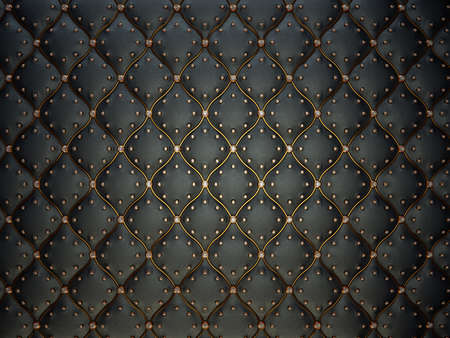 Foto de Black leather pattern with golden wire and gems. Bumped background - Imagen libre de derechos