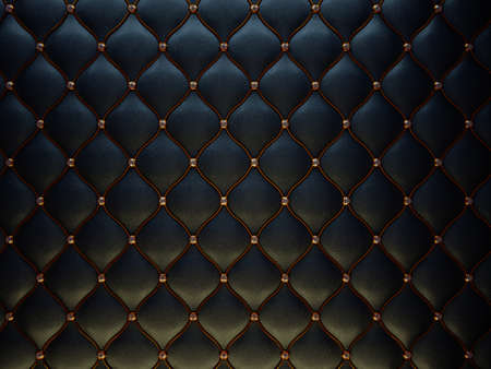 Photo pour Black leather pattern with golden wire and diamonds. Bumped background - image libre de droit