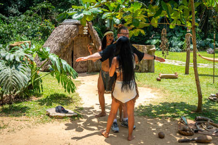 Taino indian performance near Indian Cave orCueva del Indio in Vinales, Cuba. Spring 2019.