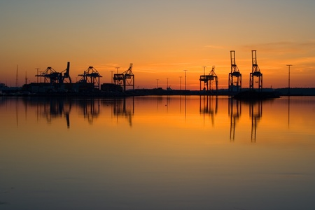 Photo for Harbor cranes in port of Vuosaari, Finland - Royalty Free Image