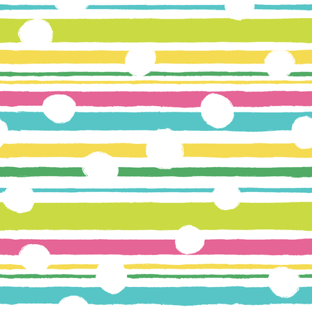 Simple pattern with horizontal stripes and white polka dots.