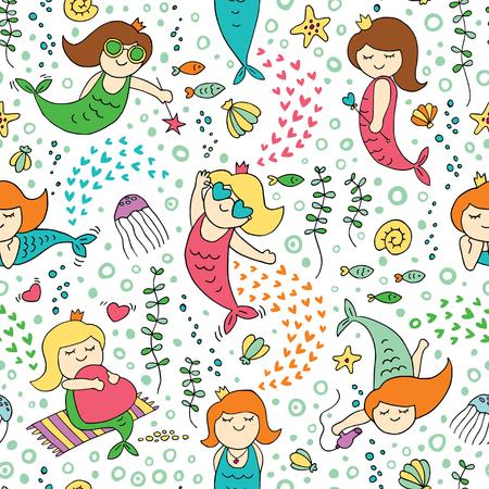 Illustration pour Seamless pattern with cute cartoon mermaids. - image libre de droit