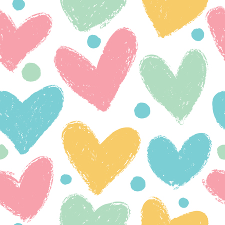 Illustration pour Cute pattern with hearts. Vector seamless background in pastel colors. - image libre de droit