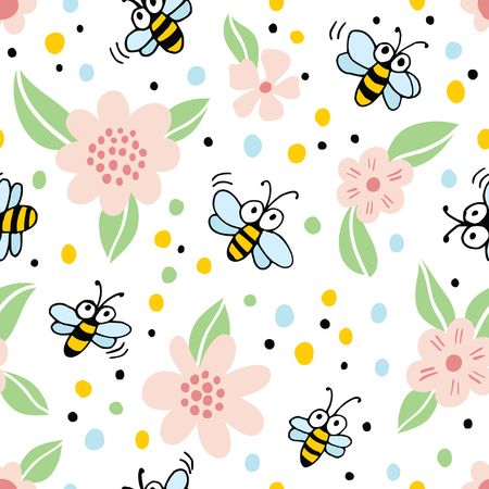 Ilustración de Seamless background with cartoon bees and flowers. - Imagen libre de derechos