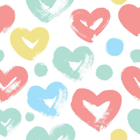 Illustration pour Funny hearts. Hand drawn. Seamless vector pattern for your design. Great for Baby, Valentine's Day, Mother's Day, wedding, scrapbook, surface textures. - image libre de droit
