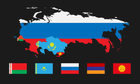 Vector illustration. Template for infographics. Schematic map of the member states of the Eurasian Economic Union. Flags Belarus, Kazakhstan, Russia, Armenia and joining Kyrgyzstan.