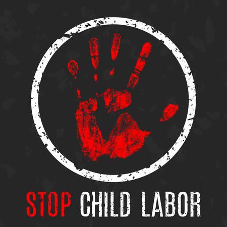 Vector conceptual illustration - Poster stop child labor