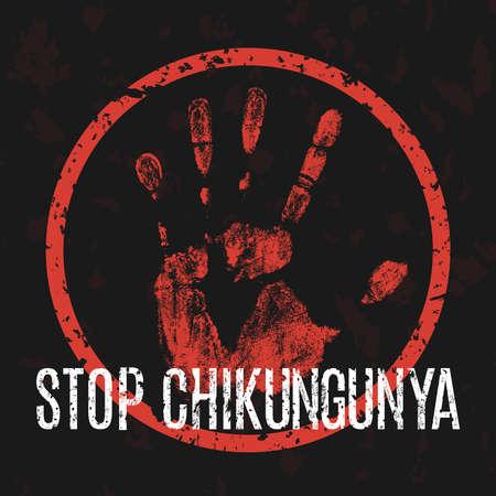 Conceptual vector illustration - symbol stop the virus Chikungunya