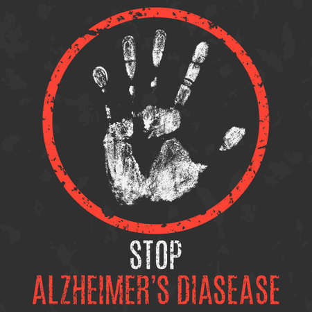 Conceptual vector illustration. Stop Alzheimer's disease.