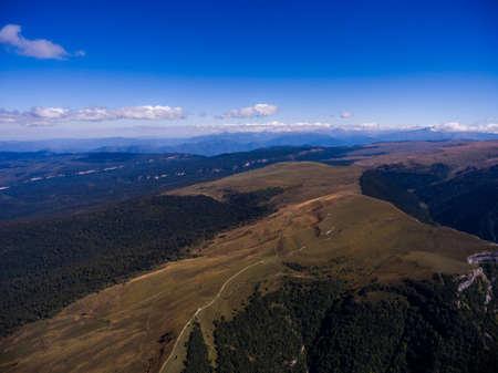 Aerial photo of wild mountain terrain. Russia, Caucasus.