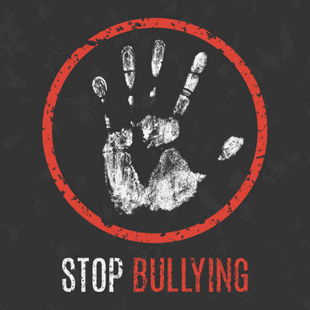 Illustration pour Conceptual vector illustration. Social problems of humanity. Stop bullying sign. - image libre de droit