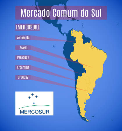 Vector schematic map and emblem of Southern Common Market (MERCOSUR).