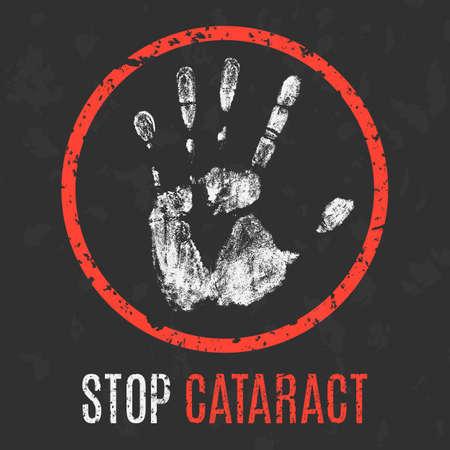 Conceptual vector illustration. Human sickness. Stop cataract.