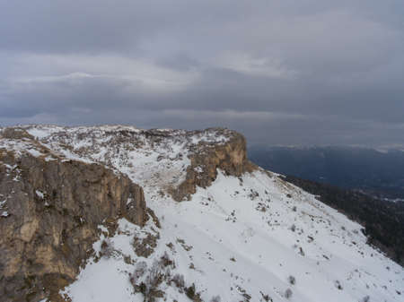 Aerial landscape. Drone photo. Rocky plateau in the winter.