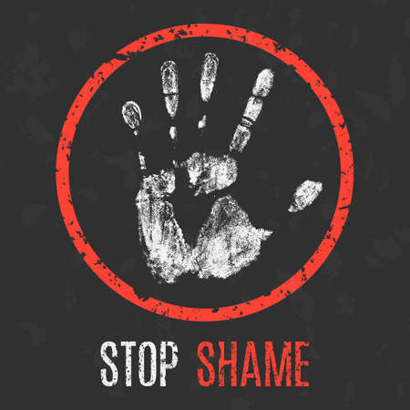 Vector illustration. Negative human states and emotions. Stop shame.