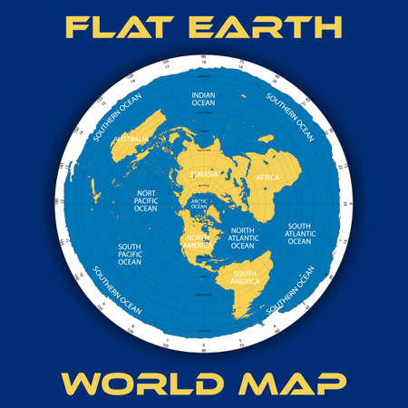 Illustration for Schematic map theory of a flat earth illustration. - Royalty Free Image