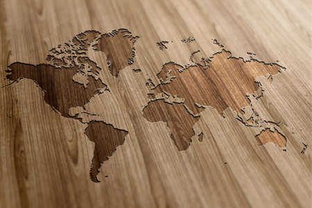 World Map on Wooden Background