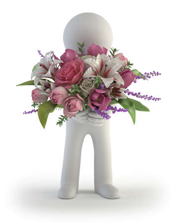 Photo for 3d small people - bouquet of flowers - Royalty Free Image