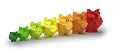 energy-saving pigs, Isolated white background