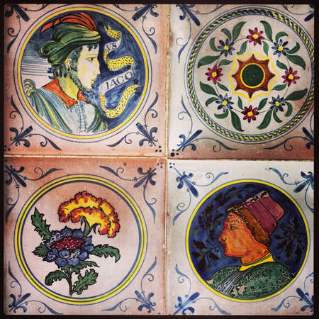 Square vintage tile in the old French  Castle in Provence