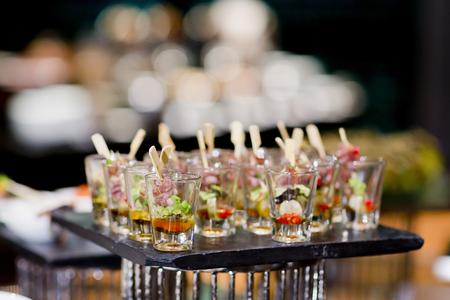many servings of sweet tasty dessert on buffet
