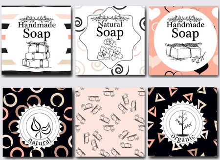 Illustration pour Vector set of seamless patterns, labels and design templates for handmade natural soap packaging and wrapping paper. - image libre de droit