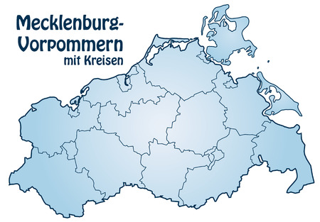 Map of Mecklenburg-Western Pomerania with borders in blue