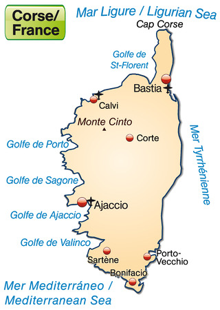 Map of corsica as an overview map in pastel orange