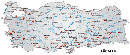 Illustration pour Map of Turkey as an overview map in gray - image libre de droit