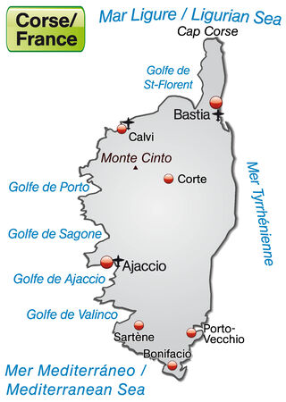 Map of corsica as an overview map in gray