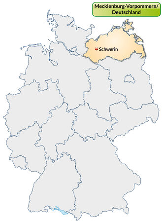 Map of Mecklenburg-Western Pomerania with main cities in pastel orange