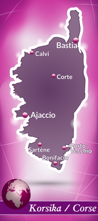 Map of corsica with abstract background in violet