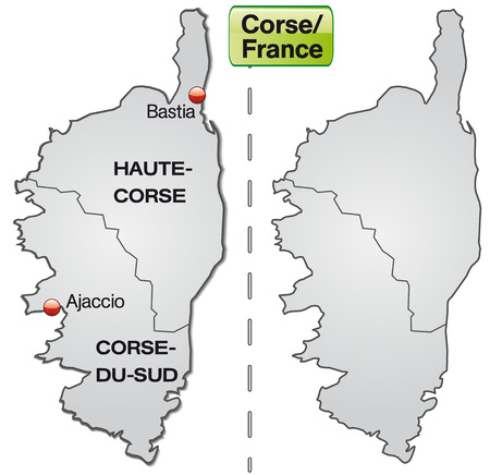 Map of corsica with borders in gray