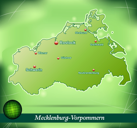 Map of Mecklenburg-Western Pomerania with abstract background in green