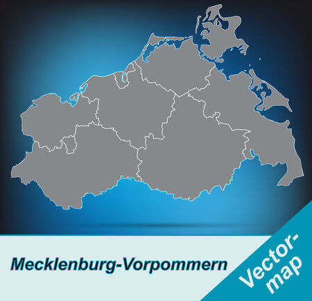 Map of Mecklenburg-Western Pomerania with borders in bright gray