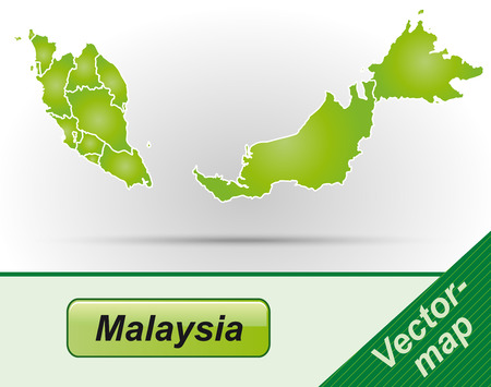 Map of Malaysia with borders in green